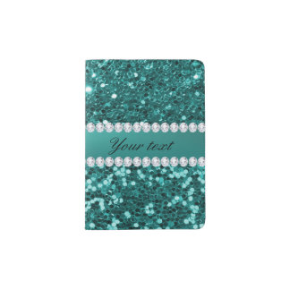 Chic Teal Faux Glitter and Diamonds Passport Holder