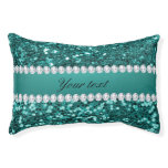 Chic Teal Faux Glitter and Diamonds Pet Bed