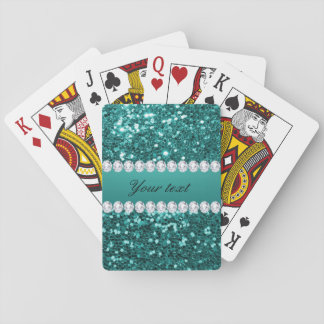 Chic Teal Faux Glitter and Diamonds Playing Cards