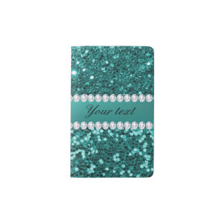 Chic Teal Faux Glitter and Diamonds Pocket Moleskine Notebook