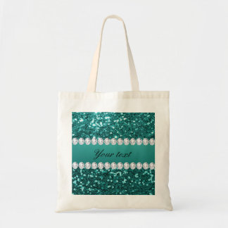 Chic Teal Faux Glitter and Diamonds Tote Bag