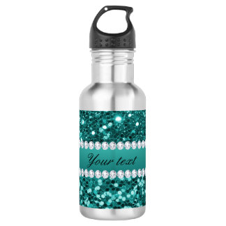 Chic Teal Faux Glitter and Diamonds Water Bottle