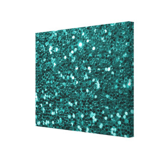 Chic Teal Faux Glitter Canvas Print