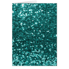 Chic Teal Faux Glitter Card
