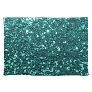 Chic Teal Faux Glitter Cloth Placemat