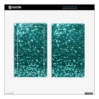 Chic Teal Faux Glitter Decals For Kindle Fire