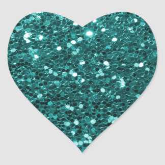 Chic Teal Faux Glitter Heart Sticker