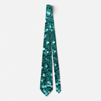 Chic Teal Faux Glitter Neck Tie