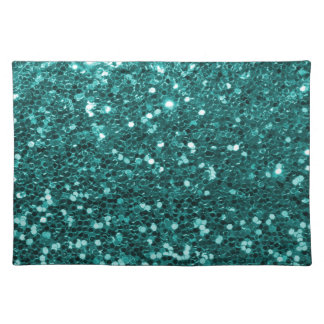 Chic Teal Faux Glitter Placemat