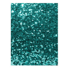 Chic Teal Faux Glitter Postcard