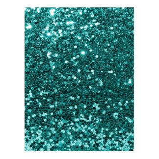 Chic Teal Faux Glitter Postcard