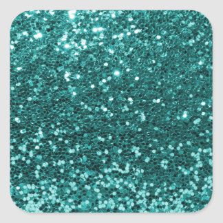 Chic Teal Faux Glitter Square Sticker