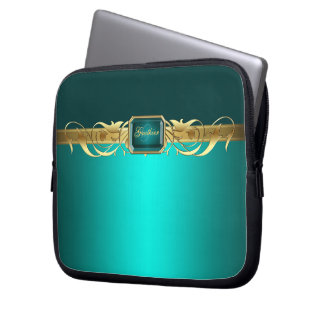 Chic Teal Faux Gold Scroll Two Tone Laptop Sleeve
