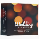 Chic Teal Gold Bokeh String Lights Wedding Planner Binder