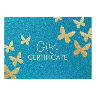 Chic Teal & Gold Butterflies Gift Certificates Business Cards