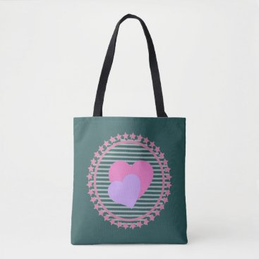 Beach Themed Chic Teal Graphic Hearts bag for beach or shopping