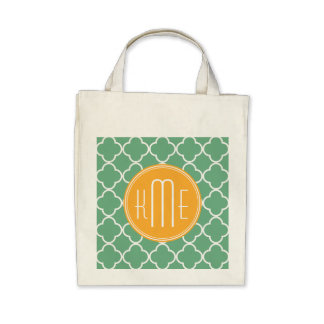 Chic Teal Green Quatrefoil with Yellow Monogram Bags