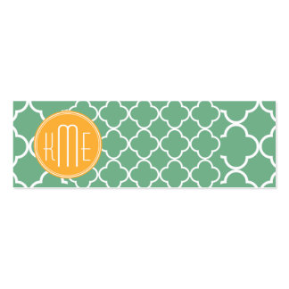 Chic Teal Green Quatrefoil with Yellow Monogram Double-Sided Mini Business Cards (Pack Of 20)
