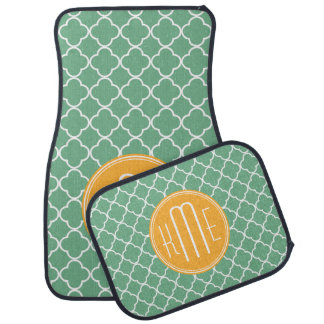 Chic Teal Green Quatrefoil with Yellow Monogram Car Floor Mat