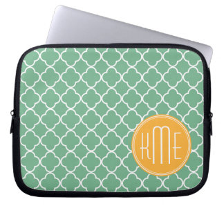 Chic Teal Green Quatrefoil with Yellow Monogram Computer Sleeve