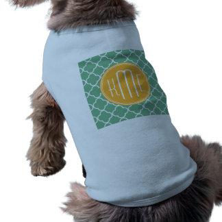Chic Teal Green Quatrefoil with Yellow Monogram Pet T-shirt