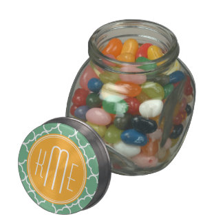 Chic Teal Green Quatrefoil with Yellow Monogram Glass Candy Jar
