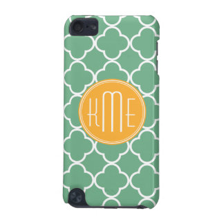 Chic Teal Green Quatrefoil with Yellow Monogram iPod Touch 5G Cover