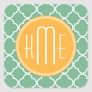 Chic Teal Green Quatrefoil with Yellow Monogram Square Sticker