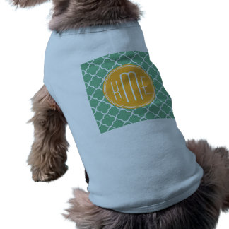Chic Teal Green Quatrefoil with Yellow Monogram T-Shirt