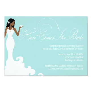 Chic Teal Here Comes the Bride Shower Invite