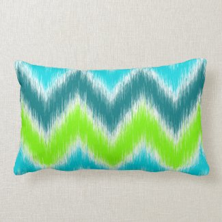Chic Teal Lime Green Turquoise Zigzag Pattern Throw Pillows