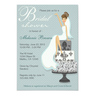 Chic Teal Modern Bride Contemporary Bridal Shower Personalized Announcements