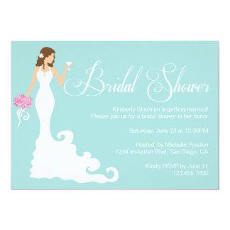 "Chic Teal Modern Bride Posh Bridal Shower Invite 5"" X 7"" Invitation Card"