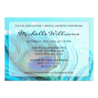 Chic Teal Peacock Jewels Bridal Shower Invitations