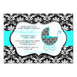 Chic Teal Polka Dot Damask Baby Shower Invite