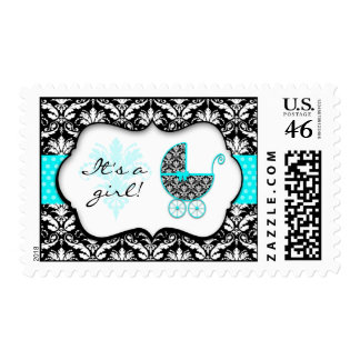 Chic Teal Polka Dot Damask Baby Shower Stamps