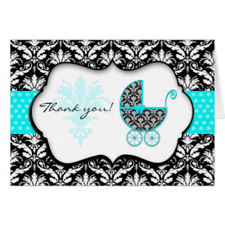 Chic Teal Polka Dot Damask Baby Shower Thank You Card