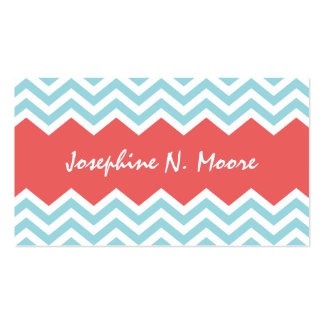 Chic teal red chevron pattern profile calling card business card