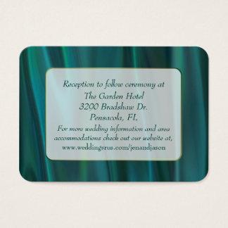 Chic Teal Satin Wedding Enclosure Card