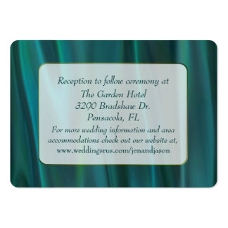 Chic Teal Satin Wedding Enclosure Card Large Business Card
