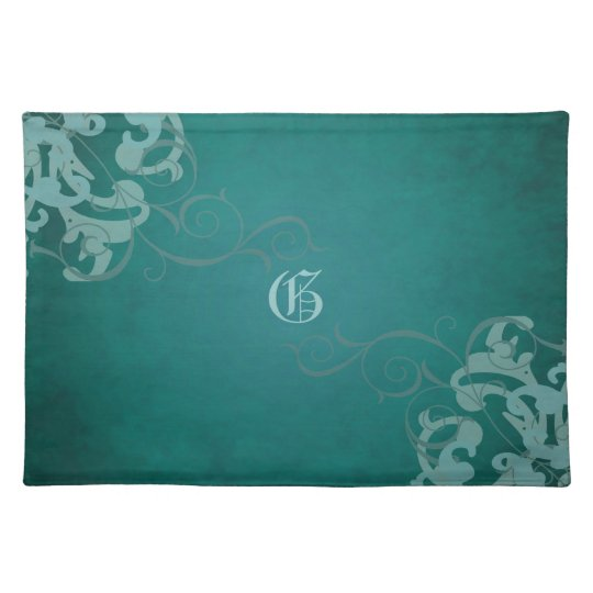 Chic Teal Scroll Teal Monogram Placemats