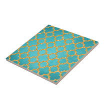 Chic Teal Turquoise Moroccan Quatrefoil Pattern Tile