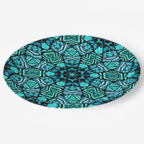 Chic Teal Turquoise Retro Oriental Mosaic Pattern Paper Plate