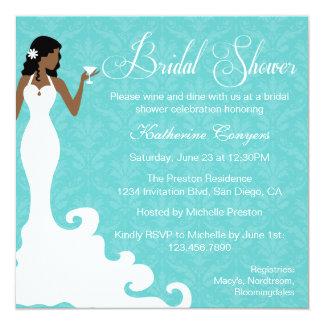 Chic Teal Wine Damask Bridal Shower Invitation