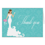 Chic Teal Wine Modern Bride Thank You Cards