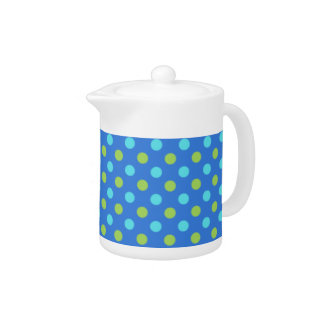 Chic Teapot: Blue, Green, Turquoise Polka Dots