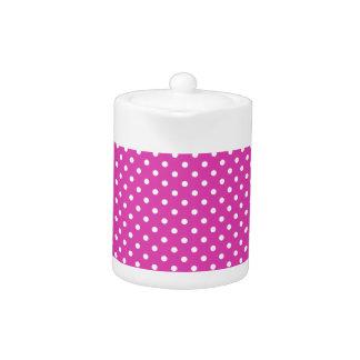 Chic Teapot: Magenta, White Polka Dots