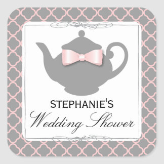 Chic Teapot Pink + Gray Bridal Shower Tea Sticker