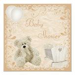 Chic Teddy & Crib Neutral Baby Shower Card