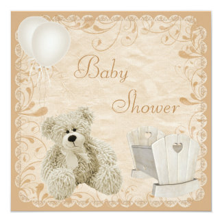 Chic Teddy & Crib Neutral Baby Shower 5.25x5.25 Square Paper Invitation Card